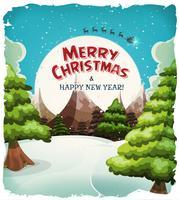 Cartolina di Buon Natale Paesaggio vettore