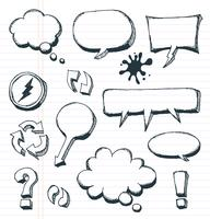 Frecce, Speech Bubbles e Doodle Elements Set vettore