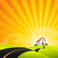 Piccola casa nel paesaggio di alba estiva vettore