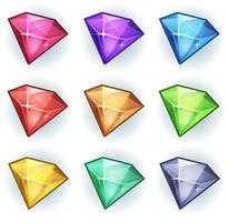 Set di icone di gemme e diamanti di cartone animato