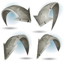 Set di segni di frecce di pietra del fumetto vettore