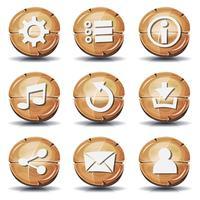 Divertenti icone e bottoni in legno per il gioco dell'interfaccia utente