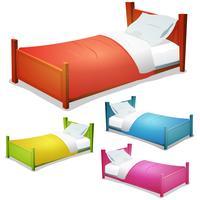 Set letto di cartone animato vettore