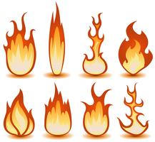 Set di simboli di fuoco e fiamme vettore