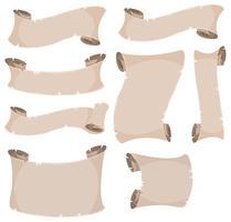 Set pergamena e banner vettore