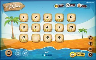 Design dell'interfaccia utente del gioco Desert Island per tablet