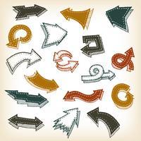 Frecce disegnate a mano d'epoca vettore