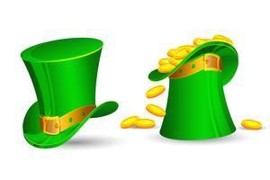 Il cappello di San Patrizio si riempie di monete d'oro vettore