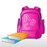 Borsa da scuola con libri vettore