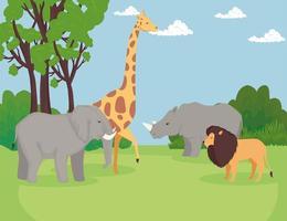 gruppo di animali selvatici nella scena della savana vettore