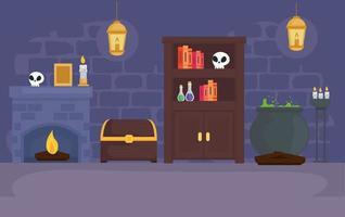 stanza del mago da favola con disegno vettoriale di icone