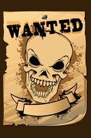 Poster Wanted vintage con teschio vettore