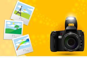 Fotocamera con foto vettore
