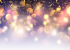 Coriandoli e stelle filanti su sfondo di luci di bokeh vettore