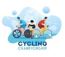 poster del campionato di ciclismo con ciclisti vettore