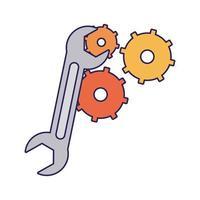 chiave inglese con simbolo ingranaggi vettore