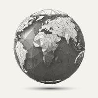 Illustrazione geometrica del globo della terra di arte linea vettore