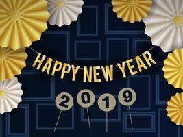 Felice anno nuovo sfondo 2019 Design con cerchio modello radiale