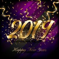Fondo della cartolina d'auguri di 2019 buoni anni. Illustratio di vettore