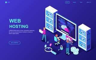 banner web di web hosting vettore