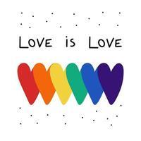 lgbt social media post modello cuore orgoglio e slogan l'amore è amore concetto di libera scelta. elemento vettoriale per l'orgoglio lgbt social posting, banner quadrato, logo.