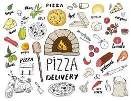 insieme di schizzo disegnato a mano del menu della pizza. scarabocchi di preparazione e consegna della pizza con farina e altri ingredienti alimentari, utensili da forno e da cucina, scooter, modello di progettazione di scatole per pizza. illustrazione vettoriale