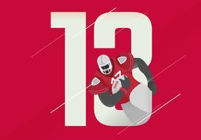 Illustrazione eroica di vettore del carattere di football americano di posa