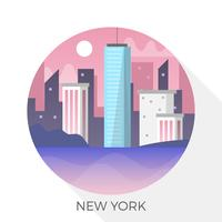 Orizzonte moderno piano di New York nell'illustrazione di vettore del cerchio