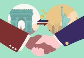 Illustrazione di vettore della stretta di mano di accordo internazionale di affari