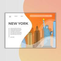 Illustrazione piana di vettore della pagina di atterraggio dei punti di riferimento di New York