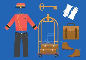 Illustrazione di vettore dell'attrezzatura dell'ufficio dell'hotel del bellboy