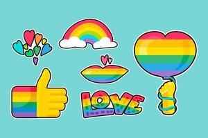 set di adesivi diversi lgbtqi arcobaleno orgoglio vettore