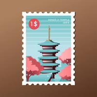 Modello di francobollo del punto di riferimento di Tokyo Sensoji Pagoda