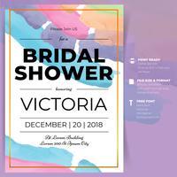 Modello di scheda dell'acquerello dell'acquazzone Bridal Shower