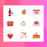 Illustrazione di vettore dell'insieme di elementi piano di giorno di biglietti di S. Valentino