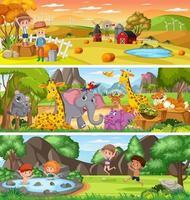 paesaggio naturale diverso nella scena diurna con personaggio dei cartoni animati vettore