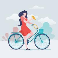 Ragazza felice in sella a una bicicletta con il suo animale domestico vettore