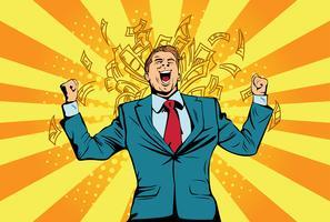 Ritratto di un uomo d'affari felice in piedi vicino a un muro con banconote da un dollaro che cadono intorno a lui. Successo finanziario celebrando con soldi, pop art retrò fumetto illustrazione vettoriale Lotteria e premio in denaro