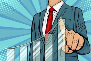 Uomo d'affari che indica il piano di crescita futura aziendale del grafico della freccia. Concetto di business di sviluppo per il successo e crescita crescente. Illustrazione in stile fumetto retrò pop art