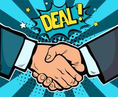 Contratto di affare di affari della stretta di mano, associazione e lavoro di squadra, retro illustrazione di vettore del libro di fumetti di Pop art. Concetto di business