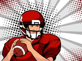 Atleta di football americano. Gioco di sport Il campionato di football americano. Coppa di calcio. Lega. Illustrazione vettoriale in stile fumetto retrò pop art.
