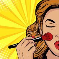 La bellezza del viso. Trucco, pennello donna provoca il tono al viso. Illustrazione vettoriale in stile fumetto retrò pop art.