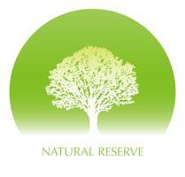 Priorità bassa circolare verde fresca con una siluetta dell'albero e uno spazio del testo. vettore
