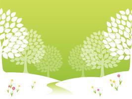 Illustrazione di foresta di vettore senza giunte di primavera.