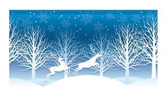 Illustrazione di Natale con la foresta di inverno e la renna. vettore