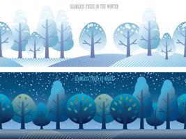 Un insieme di due illustrazioni senza cuciture della foresta di vettore