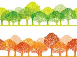 Un insieme di due illustrazioni senza cuciture della foresta di vettore. vettore