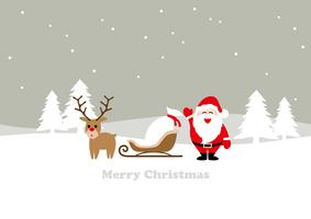 Paesaggio invernale senza cuciture con Babbo Natale, una renna e una slitta.
