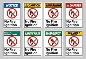 nessun segno di simbolo di accensione del fuoco su sfondo bianco vettore