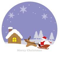 Paesaggio invernale rotondo con Babbo Natale, una renna e una slitta.